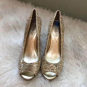 Gold Sequin Guess Peep-toe Pumps